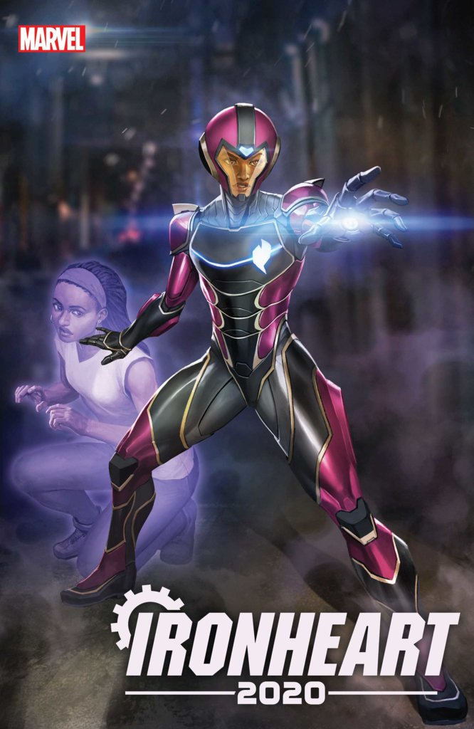 Ironheart in her armour standing protectively