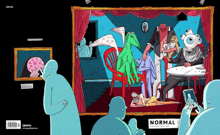 Normal full spread cover by Priya Dali, shows several blue figures examining paintings of horrific creatures