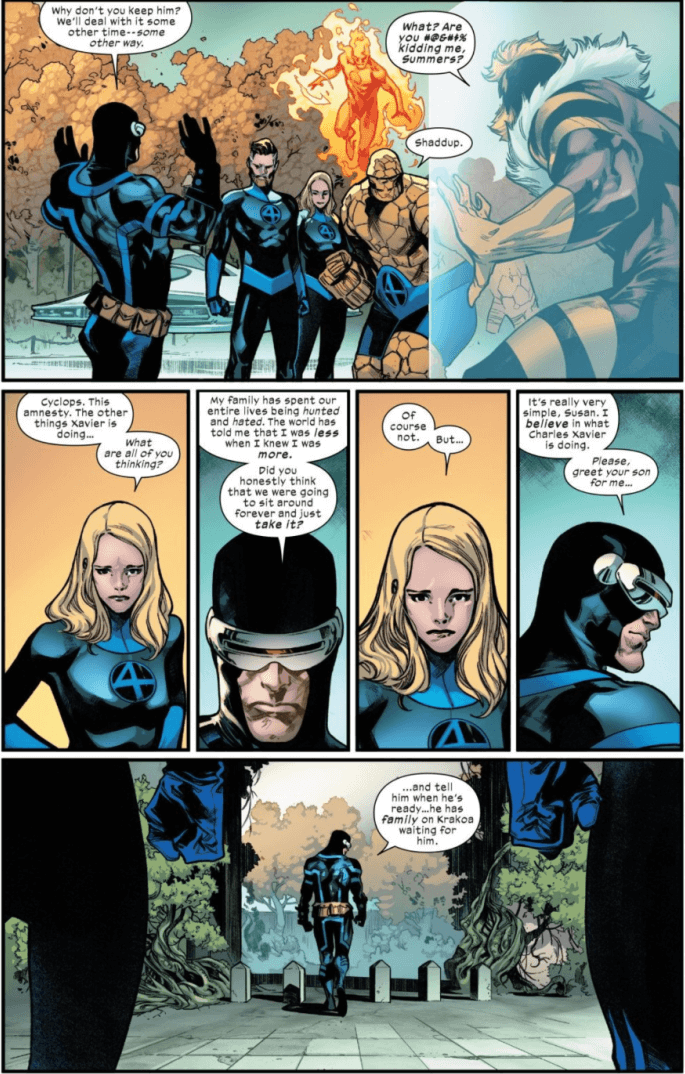 Cyclops verbally spares with the Fantastic Four and reminders them of Sue and Reed's mutant child Franklin.