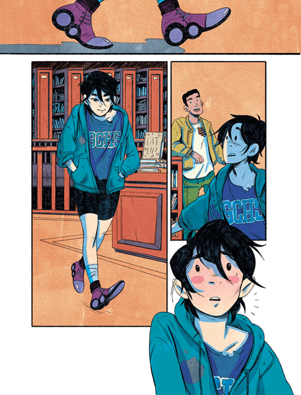 Cass walks through the library in her new clothes she found in a lost and found bin