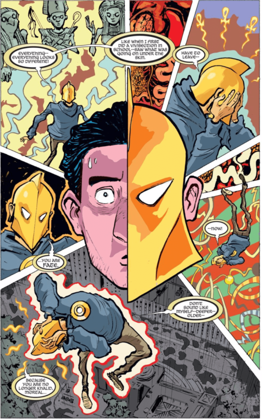 Page from Doctor Fate (2015-2016) #1 by writer Paul Levitz, artist Sonny Liew, and colorist Lee Loughridge depicting Khalid Nassour transforming into Fate