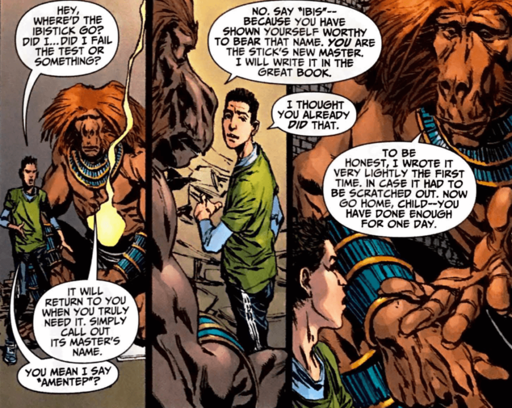 Panel from writer Tad Williams, artist Phil Winslade, colorist Chris Chuckry, and letterer Phil Balsman's The Helmet of Fate: Ibis the Invincible #1 depicting Danny Khalifa speaking to Thoth