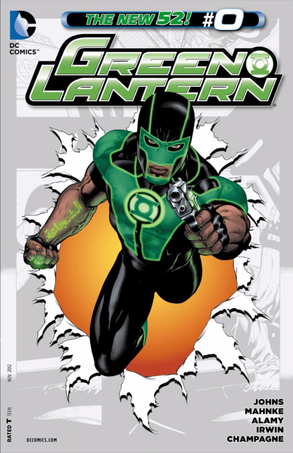 Green Lantern #0 Cover by Doug Mahnke, Christian Alamy, and Alex Sinclair depicting Simon Baz in his Green Lantern costume