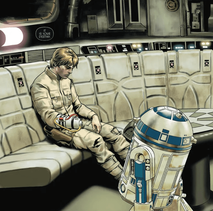 Luke Skywalker grieves, with a contraption over his missing hand, watched over by R2-D2
