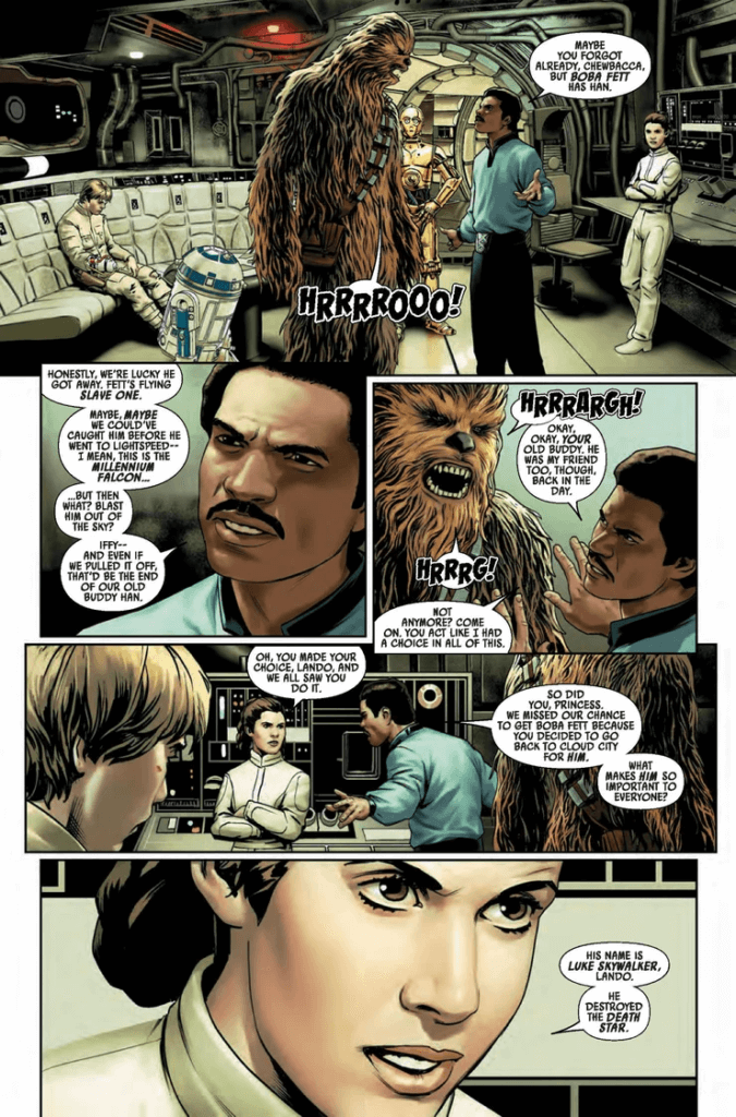 Leia and Lando argue about saving Han Solo and why Luke is important