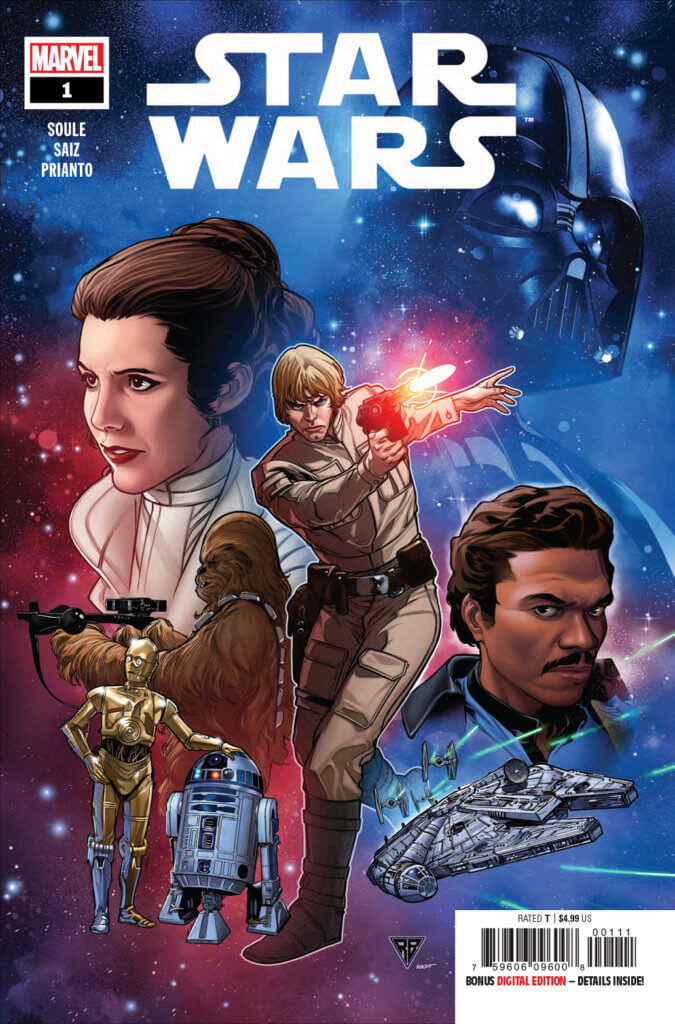 Star Wars #1 cover a floating head movie poster with Luke Skywalker firing a blaster in front of Leia, Chewie and Lando's heads and the droids bodies