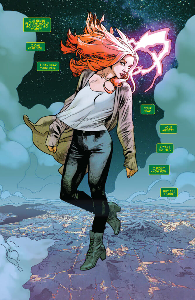 Jean Grey hovers above the world.