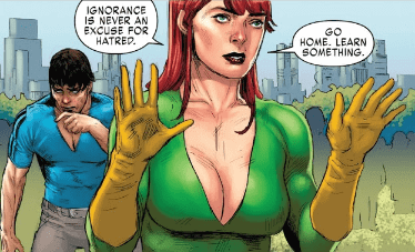 Jean Grey displays an tacky amount of cleavage and preaches about the role of ignorance in hatred.
