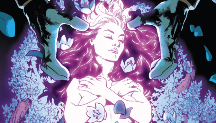 Rogue lies surrounded by flowers; large hands hover over her