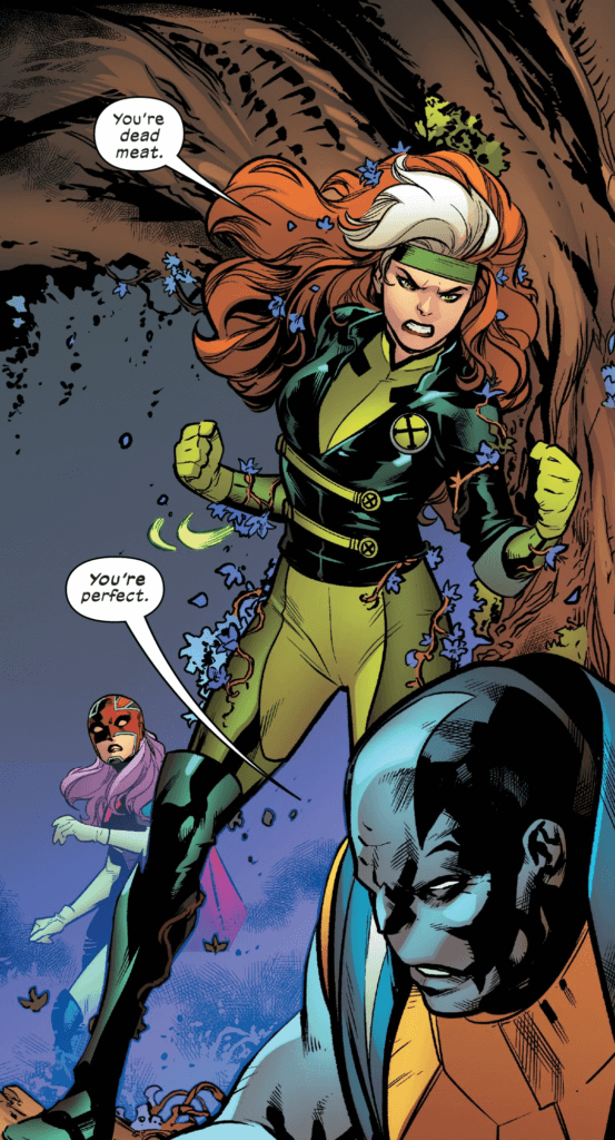 Interior art to Excalibur #5, art by Marcus To and colors by Erick Arciniega.