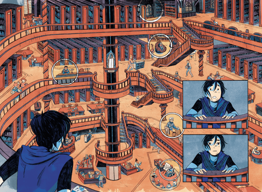 Cassandra is awed by the size of a library with many levels and shelves and staircases