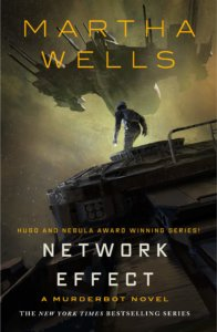 the main character appears to be preapring to jup from one spaceship to another on the cover of Network Effect by Martha Wells
