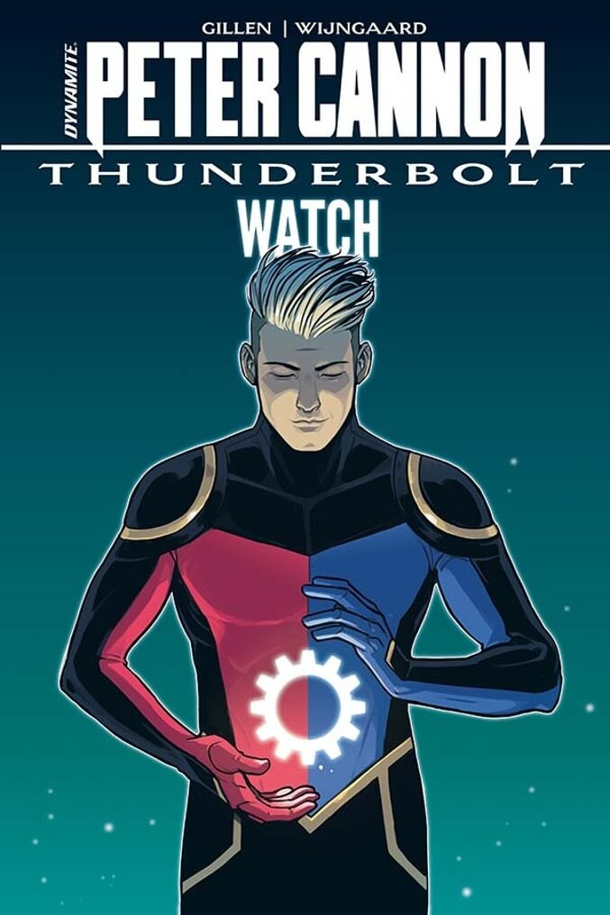 Peter Cannon gazes at the image of a glowing watch gear floating between his spread hands, on the cover to the Peter Cannon: Thunderbolt- Watch HC cover.