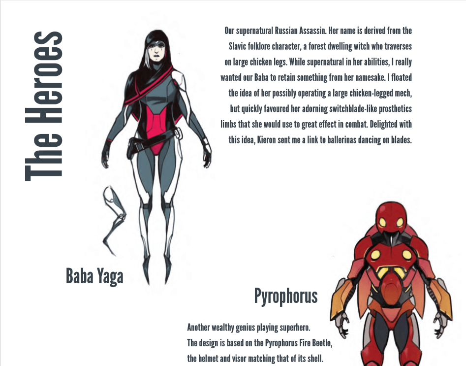 Wijngaard's designs for Baba Yaga and Pyrophorus, along with full design notes for Baba Yaga and partial for Pyrophorus.