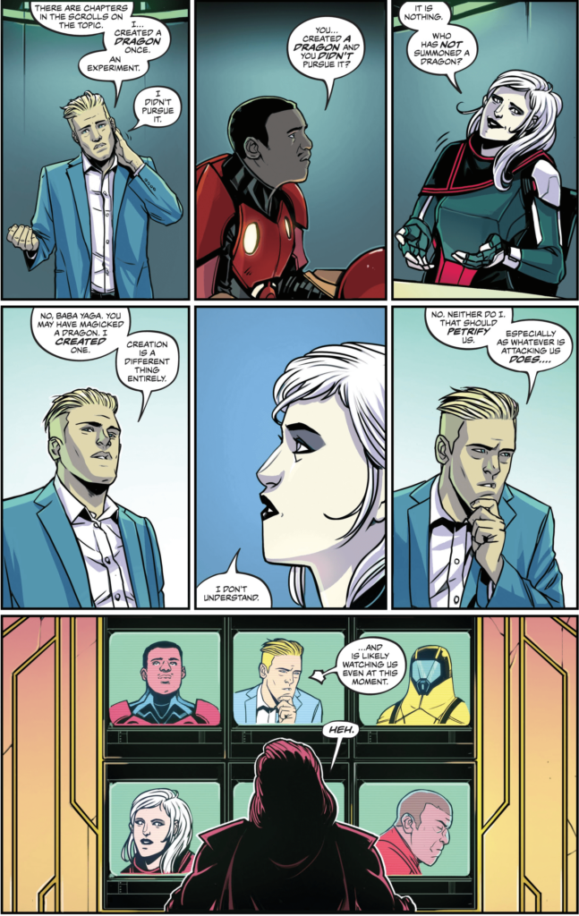 A 9-panel grid of Thunderbolt watching Cannon speak to his teammates, on a 9-panel array of monitors.