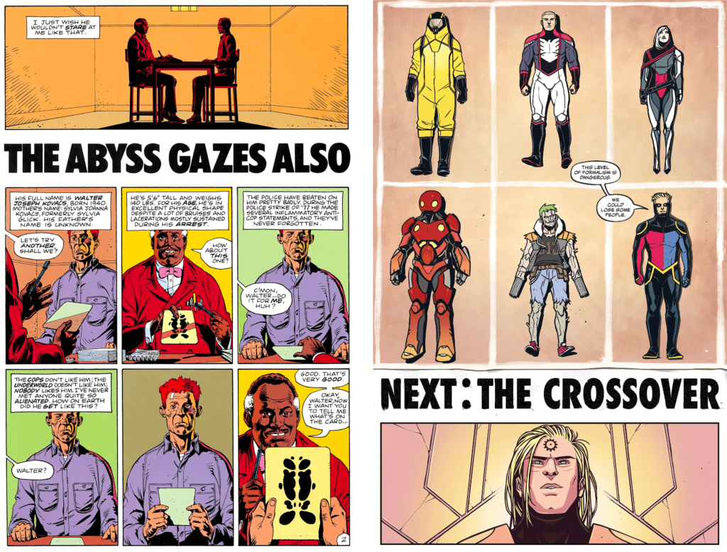 A page from Watchmen #6 on the left compared to a page from Peter Cannon: Thunderbolt-Watch on the right. The two pages have inverted panel structure; both use the 9 panel grid, with a title banner in the same font separating 6 panels from a seventh, horizontal page-width panel. The text in the page from Peter Cannon: Thunderbolt is visibly hand lettered, as it depicts lettering done by a character in story.