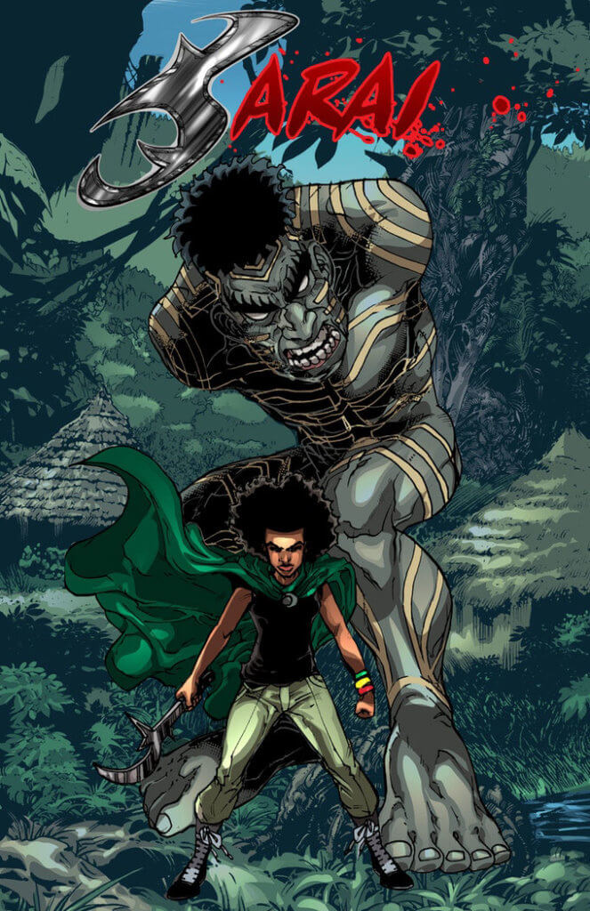 An armless giant stands behind a young girl ready for battle