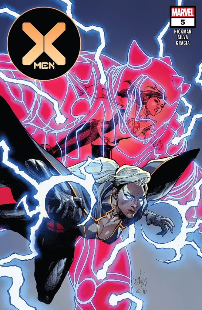 X-Men #5 cover of Storm and Armor flying to battle