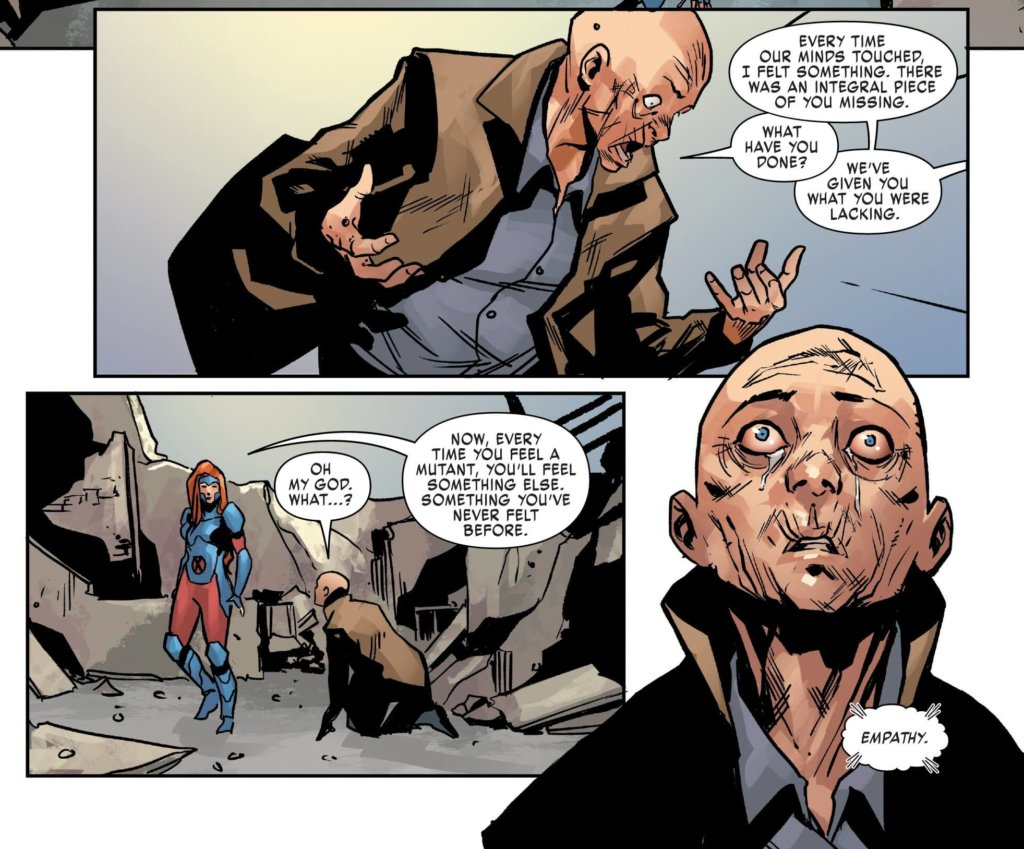 Cassandra Nova falls to her feet as she comes to terms with what she has done.