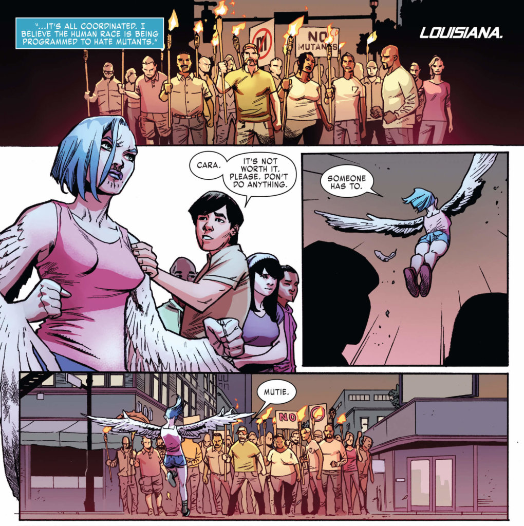 Full Page: A young mutant is harassed by a mob of bigots carrying tikki torches