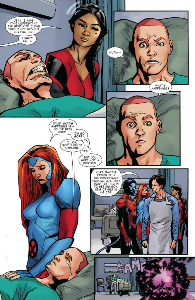 Jean Grey comforts a man in a hospital bed. The man has just killed a young woman.