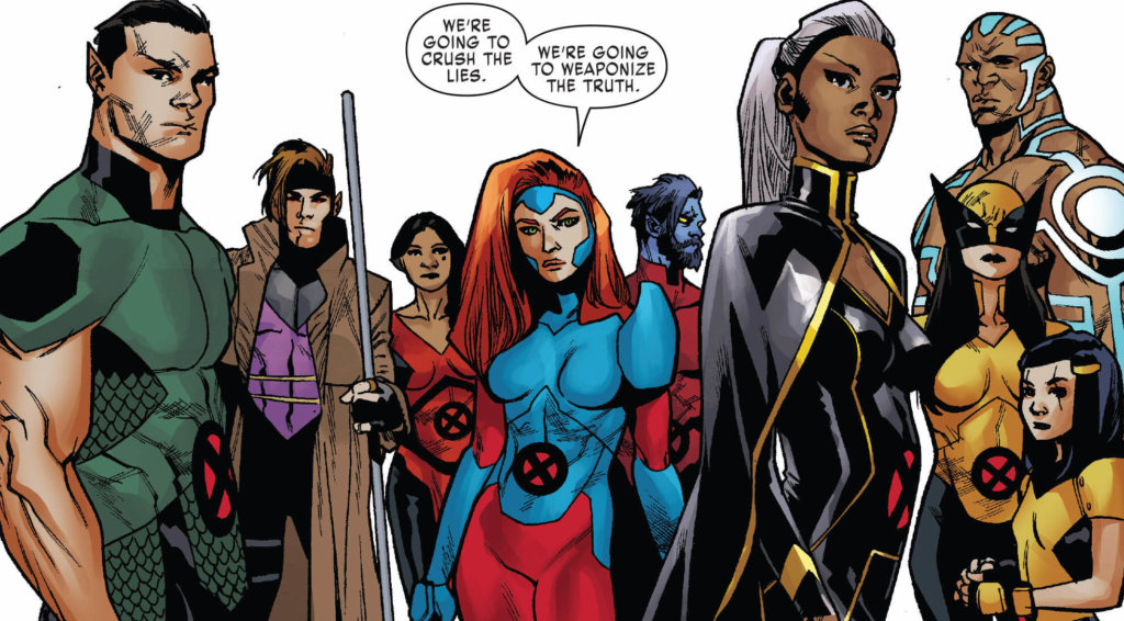 """The team of X-Men Red assembles in a tableau as Jean says """" we're going to weaponize the truth""""."""