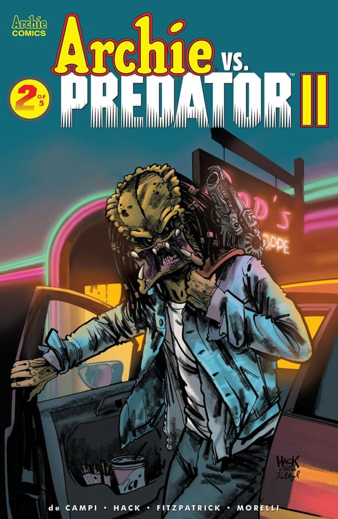 In a neon-blurred haze, a predator - a green-faced alien with a large mouth and prominent forehead - emerges from a red car before the neon-lit sign promoting Pops'. The rainbow archway of the malt shop's entrance can been sen in the background. The Predator is wearing Archie's blue shirt, white teeshirt and jeans, and seems to have his letterman's jacket looped casually over his shoulder.