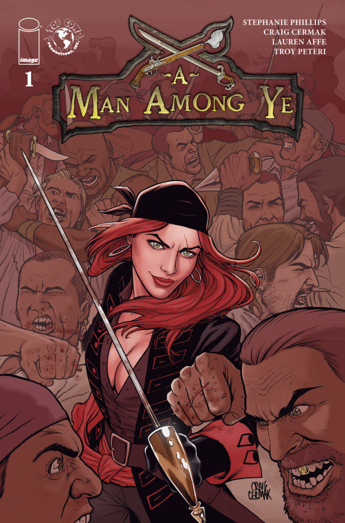 Redheaded pirate Anne Bonny stands bares her sword amid a bunch of brawling men on the cover of A Man Among Ye