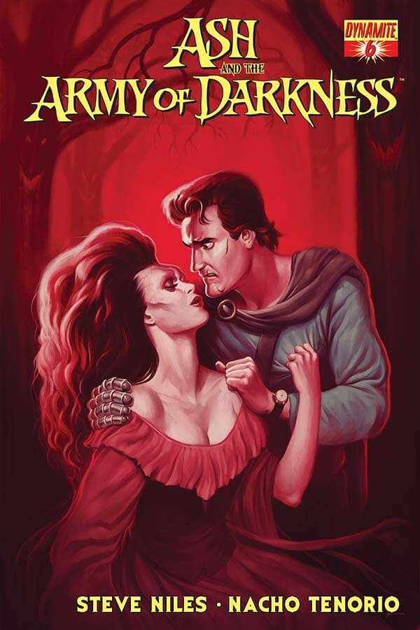 Ash williams - a brown-haired man in a blue medieval outfit with dark hair and scars on his face - is in a romantic clinch with the Deadite version of Sheila, who has huge bouffant hair and a red, off-the-shoulder outfit. They are embracing in the woods, which are tinted red