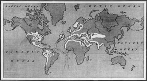 Image of the spread of Atlanteans according to Ignatius Donnelly (1882)