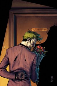 "Joker bringing ""flowers"" to Batgirl"