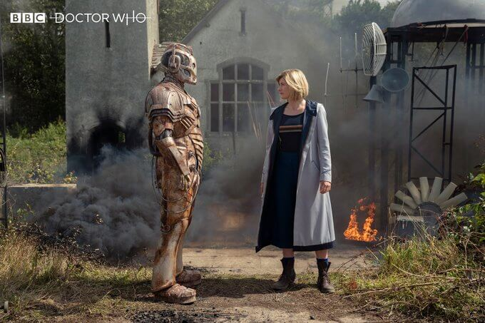 "The Lone Cyberman confronts the Doctor in ""Ascension of the Cybermen"""