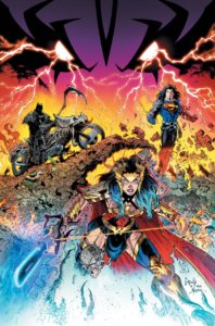 Wonder Woman with a chainsaw, Batman on a cycle with a scythe, Superman with long hair and armor