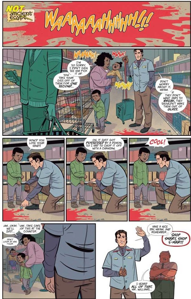 The fourth page of the first issue of Death to the Army of Darkness #1, which shows Ash interacting with a mother and child during a routine day at the S-Mart