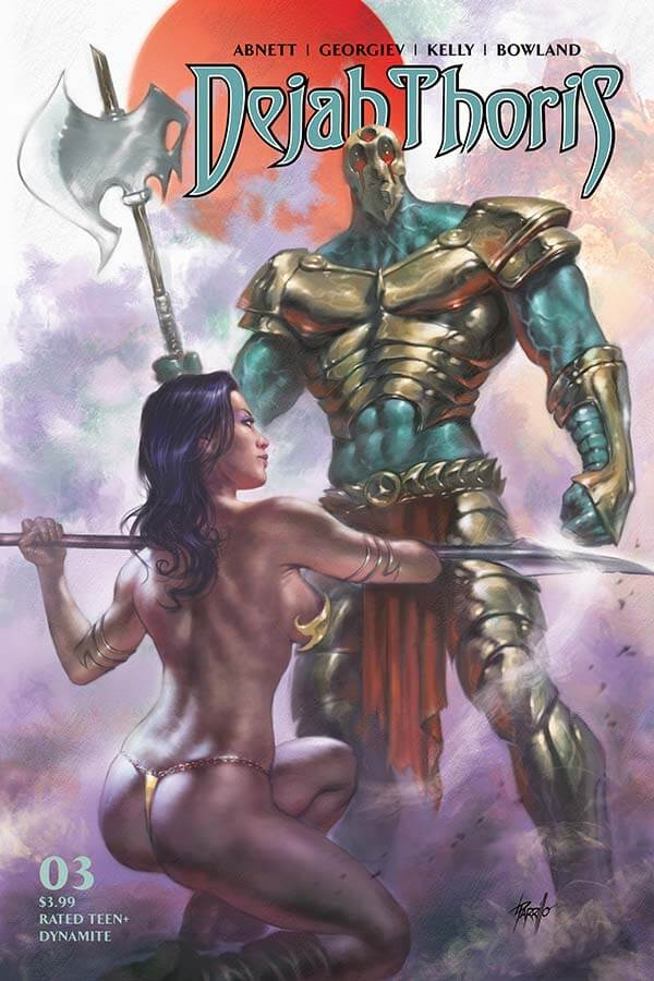 Dejah Thoris crouches ready to spring into action against the towering armoured warrior standing above her
