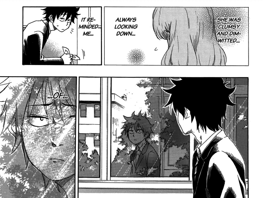 """part of a page from Blue Flag. Taichi is watching Futaba and thinking, """"shy and clumsy, always looking down, reminding me of..."""" before seeing his own reflection in the window."""