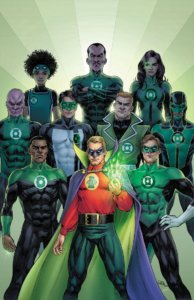 A generations of Green Lantern cover by Nicola Scott with Alan, John, Hal, Guy, Kyle, Simon, Abin Sur, Jessica, Sinestro and Teen Lantern