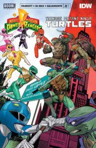 Mighty Morphin Power Rangers/Teenage Mutant Ninja Turtles #2, cover by Dan Mora, BOOM! Studios, 2020