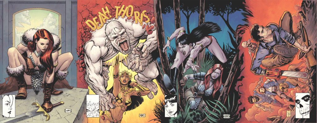 A series of covers which directly parody the style of Todd MacFarlane's most famous work. Vampirella crouches before a gloomy background, Dejah Thoris kills a villian, Vampirella and Red Sonja pounce through a jungle, and Ash Williams and his altar egos race through a forest