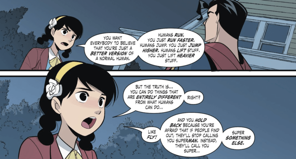 Panel from Superman Smashes the Klan Part Three by Gene Luen Yang (writer), Gurihiru (artists), and Janice Chiang (letterer) depicting Roberta Lee speaking to Superman