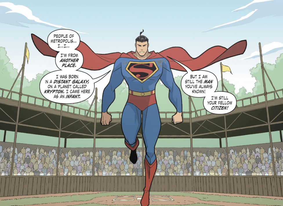 "Panel from Superman Smashes the Klan Part Three by Gene Luen Yang (writer), Gurihiru (artists), and Janice Chiang (letterer) depicting Superman, who says, ""People of Metropolis... I'm from another place. I was born in a distant galaxy, on a planet called Krypton. I came here as an infant. But I am still the man you've always known! I'm still your fellow citizen!"""