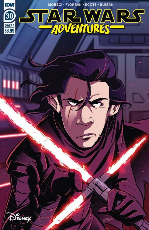 Cover of Star Wars Adventures #30: Unmasked Kylo Ren looking petulant and wielding his lightsaber