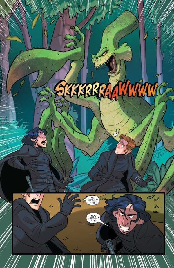 A large jungle monster that looks like a praying mantis attacks Ren and Hux; Hux says they should run and Ren tells him HE should run, looking like he's going to fight it