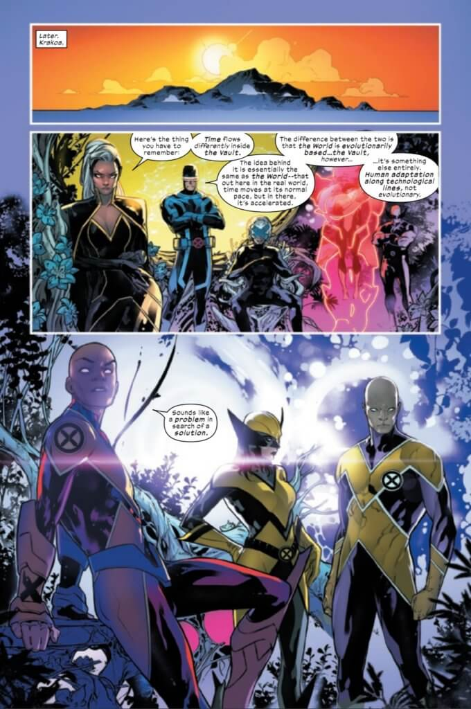 Page from X-Men #5, Cyclops explains the Vault to Synch, Darwin, and Wolverine