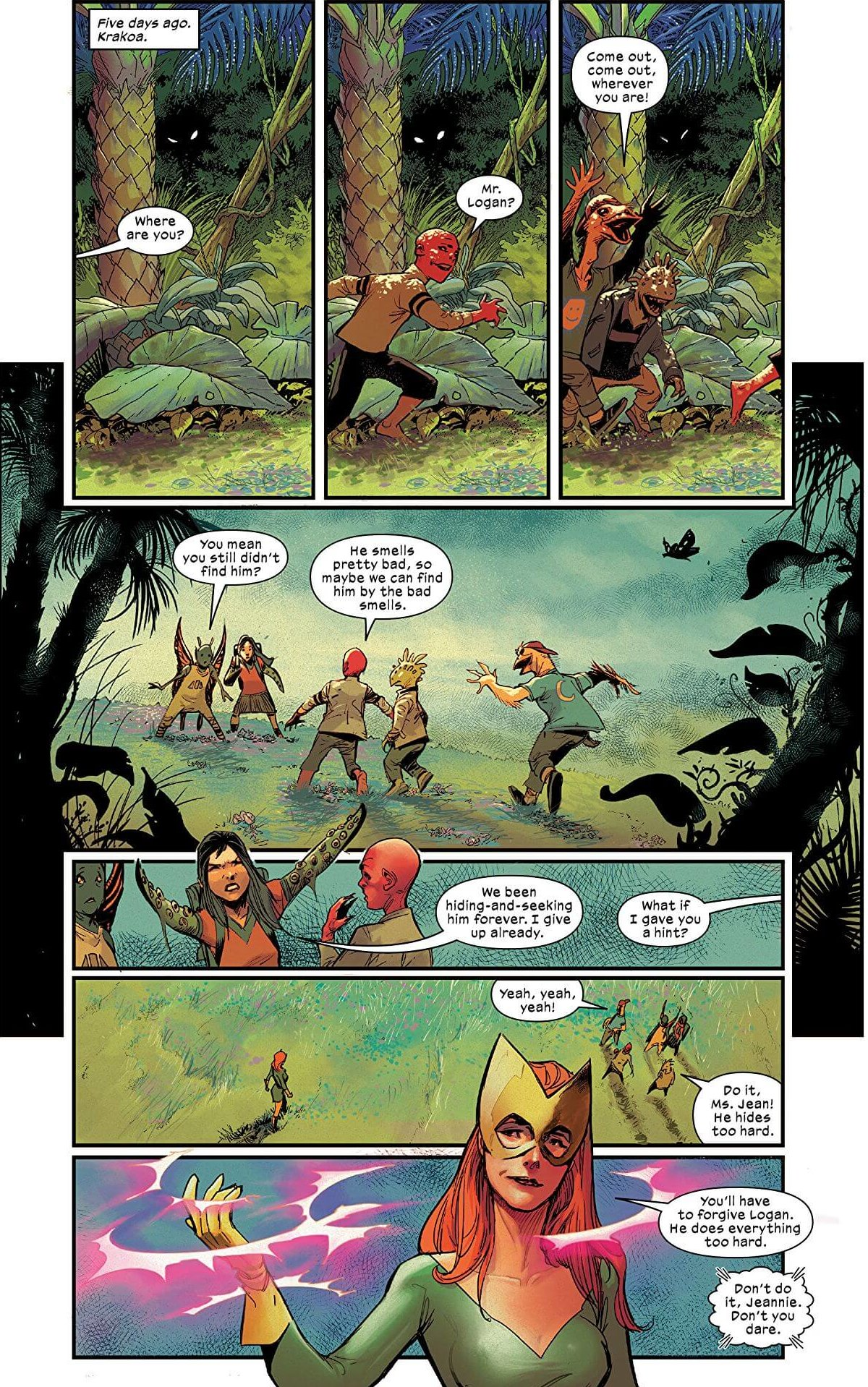 A comic page shows kids playing on Krakoa, a jungle like landscape surrounds them as Jean Grey AKA the masked hero Marvel Girl uses her powers to help them