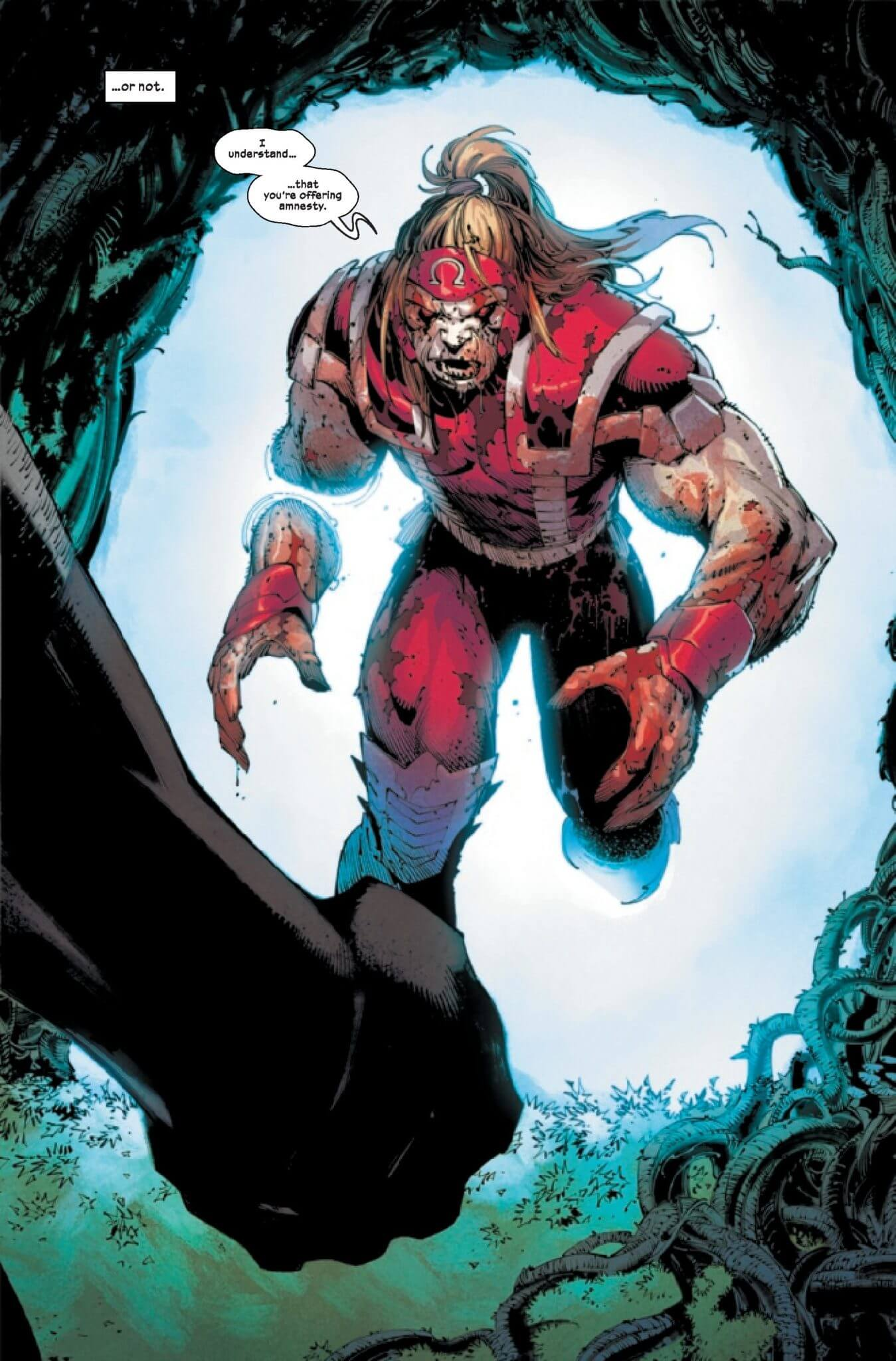 "A muscled monster man dressed all in red runs through a portal and says ""I understand you're offering amnesty?"" It's Omega Red"