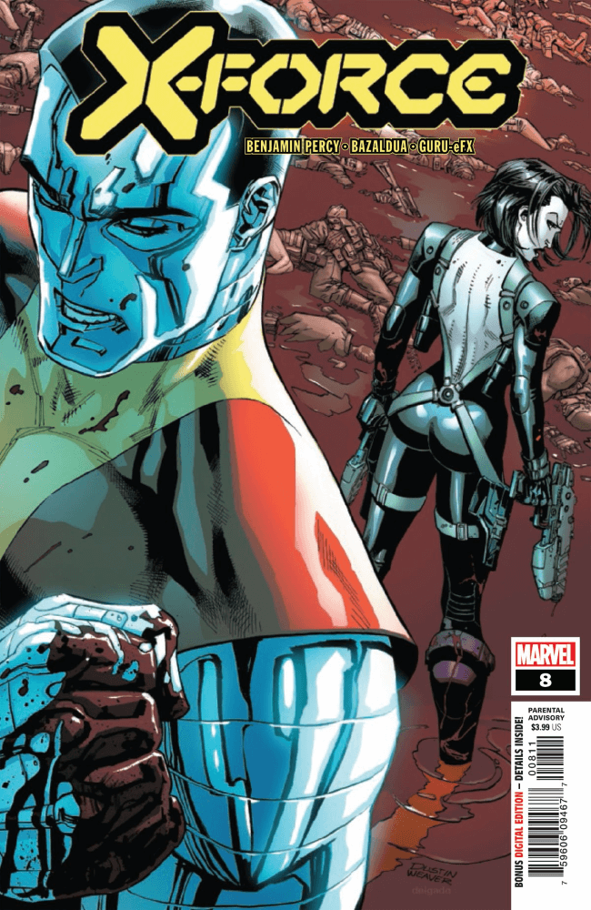 Domino and Colossus stand back to back very dramatically.
