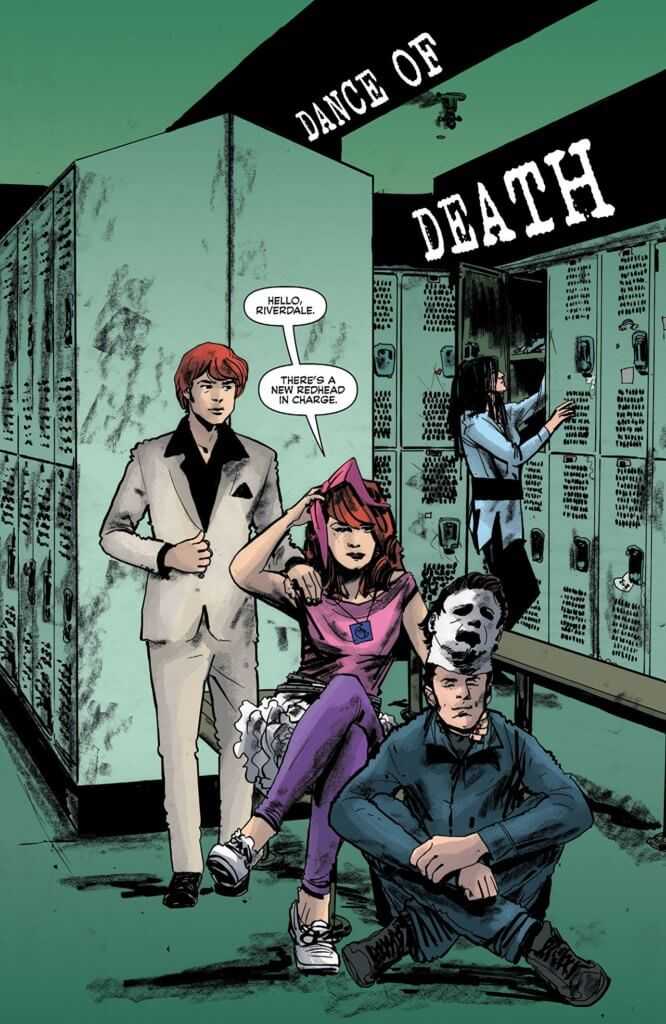 "In a splash panel from the third issue, Cheryl and Jason Blossom, two redheaded twin siblings, hide out in the seafoam-green colored locker room of Riverdale Highschool. Squatting in front of Cheryl is Reggie Mantle. Jason is wearing the white suit and black broad-collared shirt of John Travolta's Tony Manara in Saturday Night Fever. Cheryl is wearing a pink sweater and purple pants, a'la Claire Standish in The Breakfast Club. Reggie is dressed like Michael Meyers from the Halloween series in a navy jumpsuit, a faded william shatner mask perched on his forehead and a fake knife in his grip. In the background, Veronica rummages in her locker. ""Hello, Riverdale,"" Cheryl says. ""There's a new redhead in charge."" In black banners to the right of the image, the title of the issue - Dance of Death - can be seen."