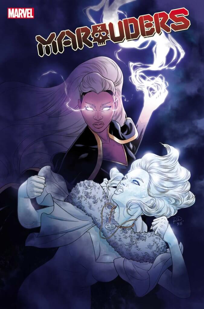 Storm and Emma Frost battle on the cover of Marauders #8