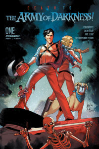 In a parody of the Army of Darkness movie poster, Ash Williams - a well-muscled dark-haired man with a prominent chin and a wide-open shirt - stands back-to-back with a blonde woman in tight pants holding a shotgun over her shoulder. She peers back at the viewer while Ash stares at the camera. Where Ash's right hand should be is a chainsaw. Standing next to the woman is a dog with a blue bandanna around its neck. At Ash's foot is a miniature version of himself. They stand before a star-speckled night sky with trees shading them from on high